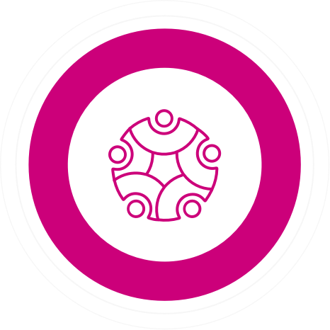 a geometric design surrounded by a thick pink circle