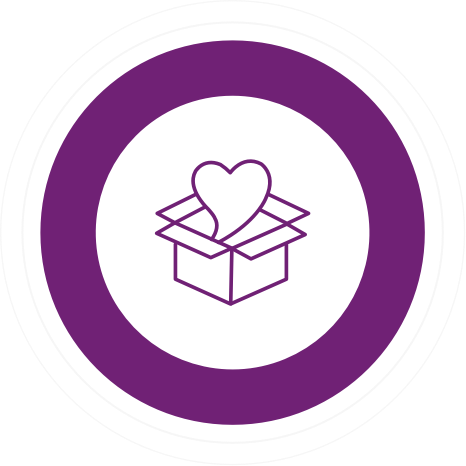 a heart coming out of a box surrounded by a thick purple circle